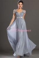 Lace Design V-Neck Cap Sleeve Floor Length Long Evening Dresses With Chiffon Evening Dress Or Custom White/Ivory