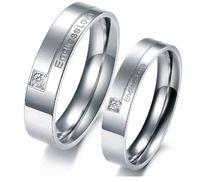 A Pair Titanium steel Endless Love Wedding Bands Promise Couple Ring Set GJ243  Titanium steel Pair Rings