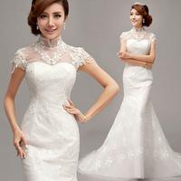 Free shipping 2014 New arrival The princess bride a word shoulder fish tail bud lace dress women's Senior  wedding dress XS-XXXL