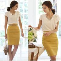 Hot Sell 8 Colors New Women's Retro Skirt Fitted Business Bodycon Short Career High Waist Pencil Skirt,Ladies Slim Skirt
