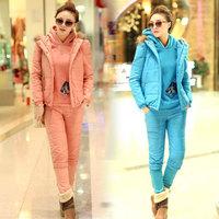 New 2014 winter coat women fur down & parkas cashmere coat casual  down cotton jacket three-piece suit casacos femininos inverno