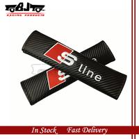 BJ-SBP-Sline 2PCS High Quality Black Color Carbon Fiber Sline S-line  Seat Belt Pads belts