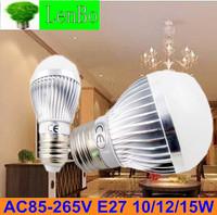 Dimmable Bubble Ball Bulb 4PCS/LOT AC85-265V 3W 4W 5W 9W 10W 12W 15W  E27  High power Globe light  Silver base LED bulb lamp LB4