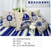 free shipping 4pcs 43*43cm square Nautical styleblue linen cotton cushion cover pillow seat cover