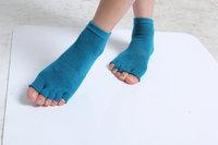 Manufacturer Provides Straightly Anti-bacterial Non-slip Five Fingers Socks, peacock Blue Yoga Socks Wholesale All code