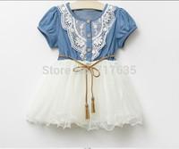 2014 New Children Clothing Good Quality Denim Net Yarn Girl Sweet Dress With Belt Short Sleeve Baby Kid's Princess Dress
