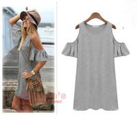 2014 free shipping Summer dress women clothes butterfly sleeve cotton cute strapless dress plus size XXXL t shirt dresses
