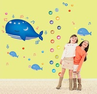 (Min order is $10) Cartoon Whale Decals Removable Vinyl Wall Decor Bathroom Decoration Wall Sticker Kids Children Room AY7018