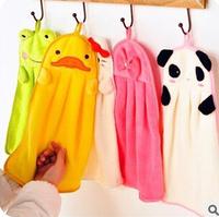 Kawaii Candy Color Cartoon Coral Fleece Hanging Hand Towel Cartoon Children Towel