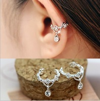 New women's water drop design shiny crystal earring clip 2014 special design for elegant women