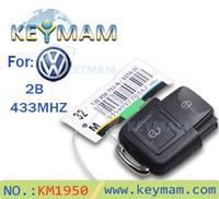 Free shipping high quality VW remote key 2 Button remote control key 1JO 959 753 N 433mhz /car key