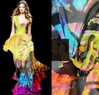 Ultra-thin Doodle Silk Chiffon Fabric For DIY Summer/Beach Wear  140CM*100CM  6Mommie