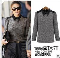 2014 fashion Europe star  women Autumn  patchwork turn down collar  pullover back zipper all match sweater coat        #C0513