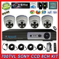 700TVL SONY Effio CCD 8ch Full D1 HDMI DVR CCTV KIT Array Led 35M IR distance Security Camera Surveillance Video System Home DIY