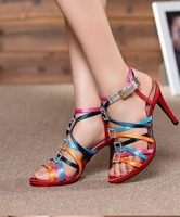 Free shipping 2014 women's shoes high-heeled shoes rhinestone side buckle thin heels sandals female satin cloth color block