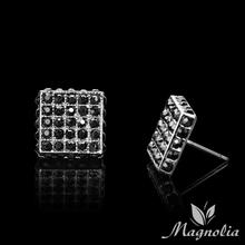 2014 New Arrival 13mm Men's Super-cool Hip-Hop Stud Earrings Black Crystal Earrings Square Geometry Pure Black Earrings M03(China (Mainland))