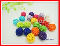NEW Handmade Nursing wooden crochet beads,17 colors, teething  crochet beads,knitted bead with wooden beads 100 PCS WC002
