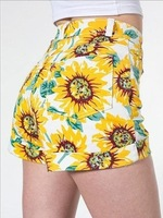 2014 New Summer Women Vintage Fashion Floral Print Sunflower Pattern High Waistline Slim Shorts Yellow