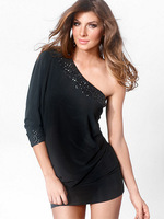 2014 New Fashion Women Sexy One Shoulder Sequined Batwing Sleeve Black Club Dresses Mini Dress Party Dresses N5-055