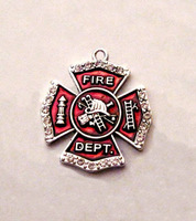 Free ship 100pcs a lot antique silver plated zinc with sparkling crystals and enamel Firefighter Maltese Cross Crystal Pendant