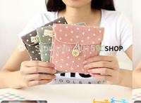 12pcs/lot fashion zipper Polka Dot linen+cotton Coin bag small change Purse Wallet mini handbag paper organizer for women girls