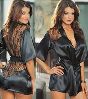 2014 Fashion Black Colors Satin Black Sexy Lingerie Costume Pajamas Underwear Sleepwear Robe and G-String+Free Shipping