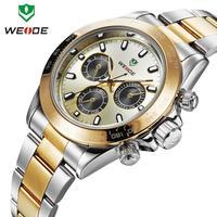 2014 Classic Military Watch Analog 3ATM WEIDE Original JAPAN Movement Gold Quartz Digital Stainless Steel Watch Brand Men
