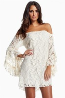 Europe America 2014 New Arrival Lace Tassel Horn Long Sleeve Off Shoulder Fashion Womens Mini Dress Hot Sale N10-132