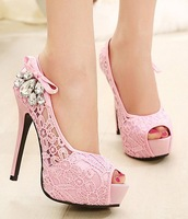 summer wedding shoes woman fashion lace rhinestone thin high heels platform pumps girls open toe Sandals for women GL140890