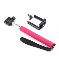 Extendable Aluminum Self timer artifact Handheld Monopod Camera Phone clip For Apple iPhone 3G 3GS 4 4S 5 5C 5S Pink