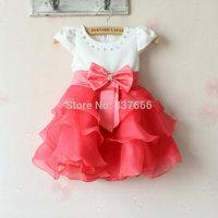 New arrival Children's vest dress Summer dresses of the girls Big bow wave dress red dress