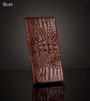 Wholesale 14 Slot fashion men genuine leather cowhide crocodile long wallet brand gents purse bolsas carteira masculina couro