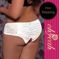 Free Shipping New Design With Full White Lace Open Women's Panties Plus Size To 7XL 8XL Briefs P50082P(7-8XL)