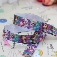 5/8'' Free shipping Fold Over Elastic FOE frozen anna elsa printed headband diy decoration wholesale OEM P2776