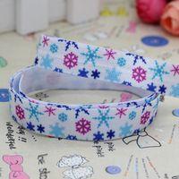 5/8'' Free shipping Fold Over Elastic FOE snowflake printed headband diy decoration wholesale OEM P2780