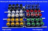 Free Shipping For Honda CBR Yamaha R1 Suzuki Kawasaki Ducati Motorcycle Windshield Windscreen Fairing Bolt Kit Screen Screw Kit