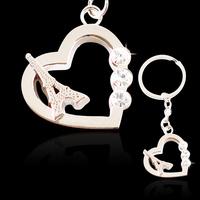 Paris Eiffel Tower Keychain Novelty Items Innovative Trinket Souvenir Matel Creative Key With Crystal Heart Key Chain Ring