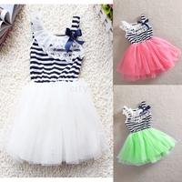 New Baby Girl Stripe Net Yarn Bubble Dress Kids summer lace flower princess tutu dress age 0-2 3Colors 4Sizes