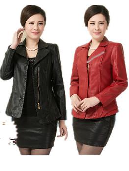 ! 2014 Spring Autumn Plus Размер Повседневный Faux leather ladies' leather ...