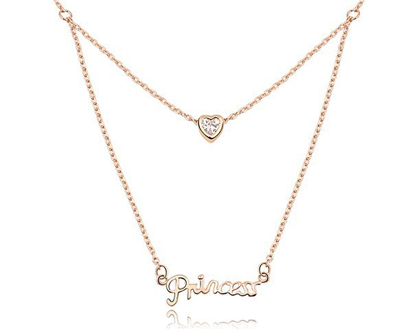 "Cubic Zirconia "" Princess "" Letter & Heart Pendant Necklace Chain Gold Plated Copper Valentine Jewelry Lover Wife Gifts NXL0047(China (Mainland))"