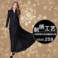 Spring and autumn long V-neck embroidery design white honey full dress slim elegant long-sleeve dress