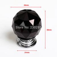 6PCS/LOT 30MM Diameter Black Glass Crystal Drawer Pulls Home Decor Furniture Knobs Kitchen Cupboard Cabinet Handles Door Knobs