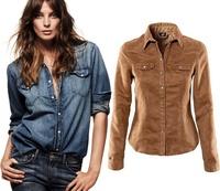 Fashion European style long sleeve blouse Women's jeans shirt/Washed Denim shirts ladies tops/femininas camisetas mujer ropa/WTL