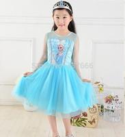 new 2014 Custom-made Movie Cosplay dress summer girl dress Costume Princess Elsa Dress from Frozen for Children
