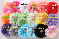 Kids hair flower vintage chiffon shabby look flower with CZ diamond Rhinestone center flower 1000pcs