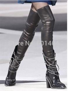 Livraison gratuite 2014 brand new style en cuir véritable brevet chaîne bottes, d'automne de mode pour femmes bottes avec amovible. lycra. boot