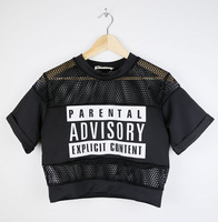 2014 Summer Women Parental Advisory Explicit  Content  Hollow Mesh Sheer Crop Top T-Shirt Black/White  Tees