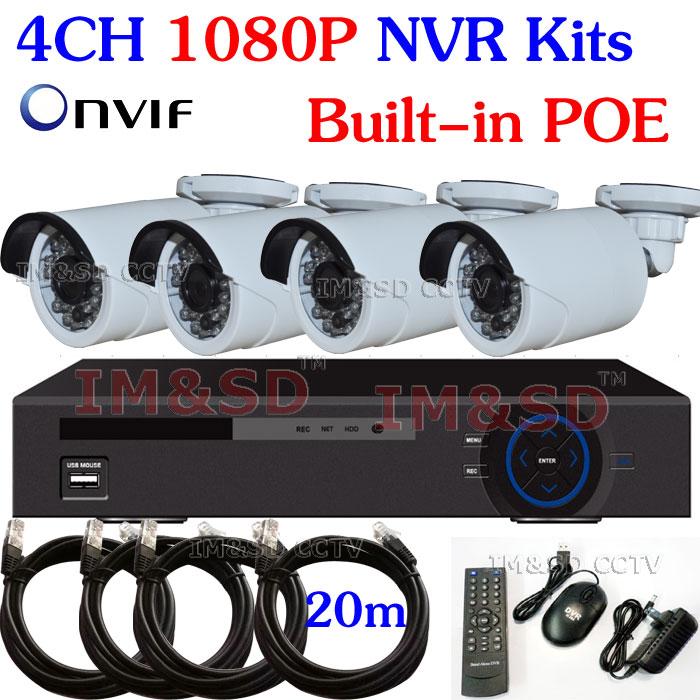 4CH 1080P Onvif NVR 2.0Mega Outdoor IR IP Camera POE NVR video security 4pcs 1080P IP camera outdoor P2P cloud(China (Mainland))