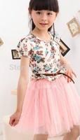 new 2014 printed flower children mash girls dresses kids dress with belt