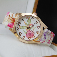 5 colors New Fashion Silicone Printed Flower Geneva Watch For Ladies Women Dress Watch Quartz Watches 1pcs/lot